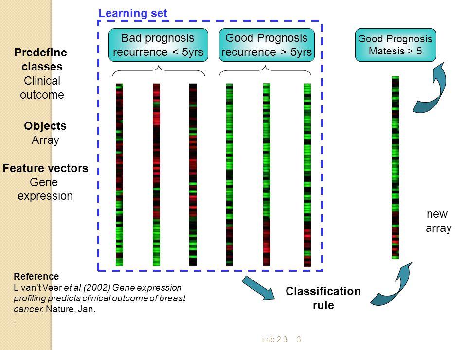 Lab 2.33 ? Bad prognosis recurrence < 5yrs Good Prognosis recurrence > 5yrs Reference L van't Veer et al (2002) Gene expression profiling predicts cli