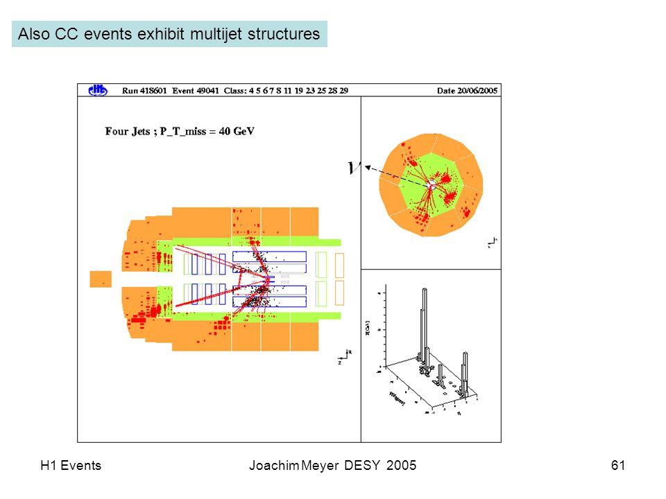 H1 EventsJoachim Meyer DESY 200561 Also CC events exhibit multijet structures