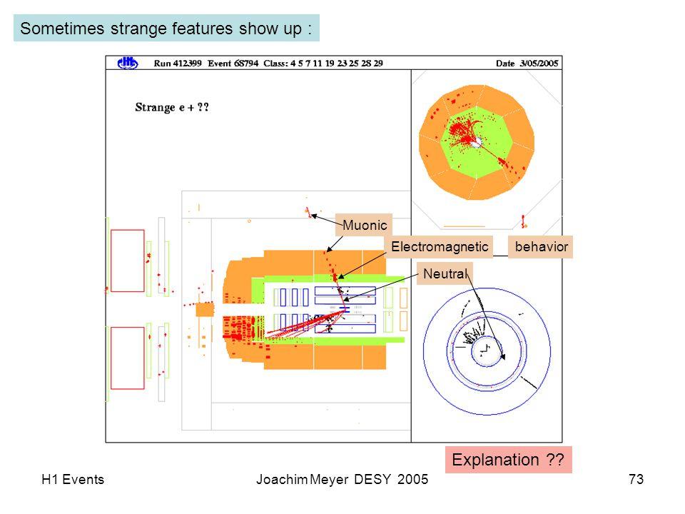 H1 EventsJoachim Meyer DESY 200573 Sometimes strange features show up : Muonic Electromagnetic Neutral behavior Explanation