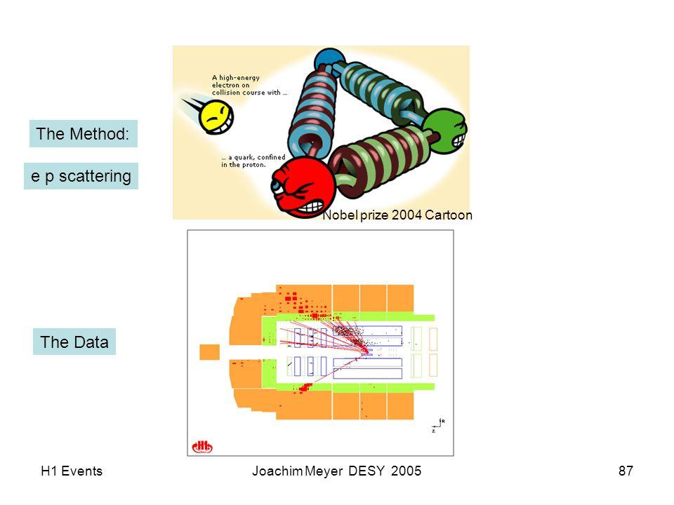 H1 EventsJoachim Meyer DESY 200587 The Method: Nobel prize 2004 Cartoon The Data e p scattering