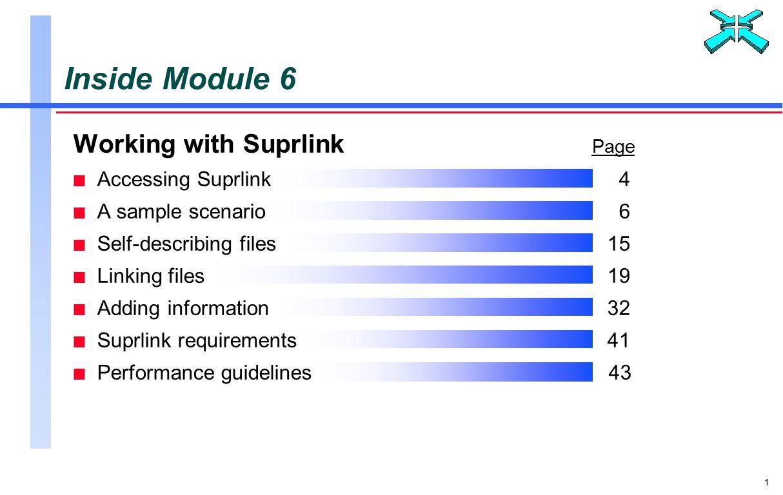 1 Working with Suprlink Page n Accessing Suprlink4 n A sample scenario6 n Self-describing files15 n Linking files19 n Adding information32 n Suprlink requirements41 n Performance guidelines 43 Inside Module 6