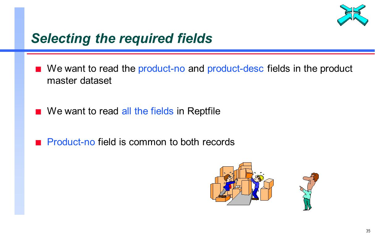 35 Selecting the required fields n We want to read the product-no and product-desc fields in the product master dataset n We want to read all the fields in Reptfile n Product-no field is common to both records