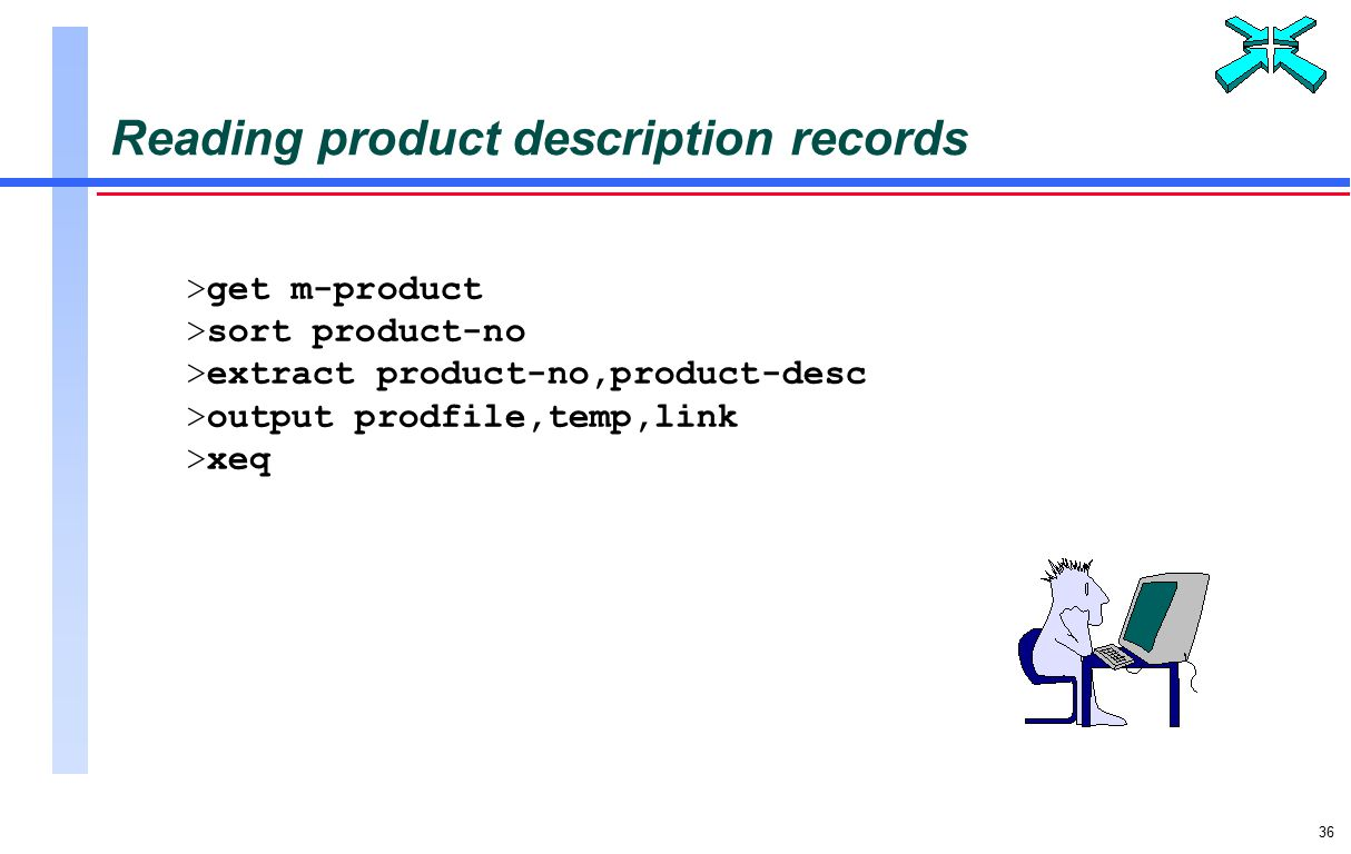36 Reading product description records >get m-product >sort product-no >extract product-no,product-desc >output prodfile,temp,link >xeq
