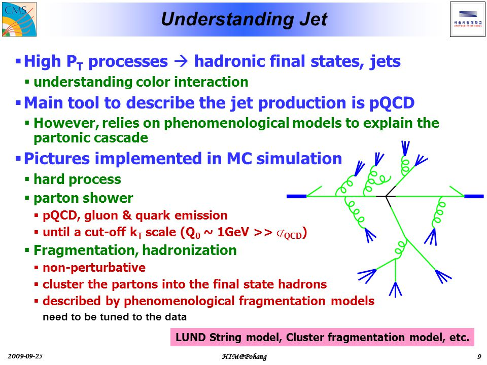 2009-09-25 HIM@Pohang9 Understanding Jet  High P T processes  hadronic final states, jets  understanding color interaction  Main tool to describe the jet production is pQCD  However, relies on phenomenological models to explain the partonic cascade  Pictures implemented in MC simulation  hard process  parton shower  pQCD, gluon & quark emission  until a cut-off k T scale (Q 0 ~ 1GeV >> Λ QCD )  Fragmentation, hadronization  non-perturbative  cluster the partons into the final state hadrons  described by phenomenological fragmentation models need to be tuned to the data LUND String model, Cluster fragmentation model, etc.