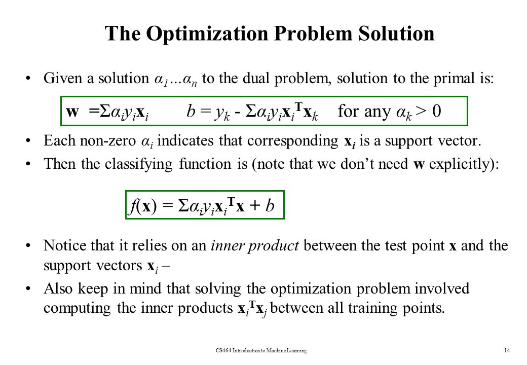 The Optimization Problem Solution Given a solution α 1 …α n to the dual problem, solution to the primal is: Each non-zero α i indicates that correspon
