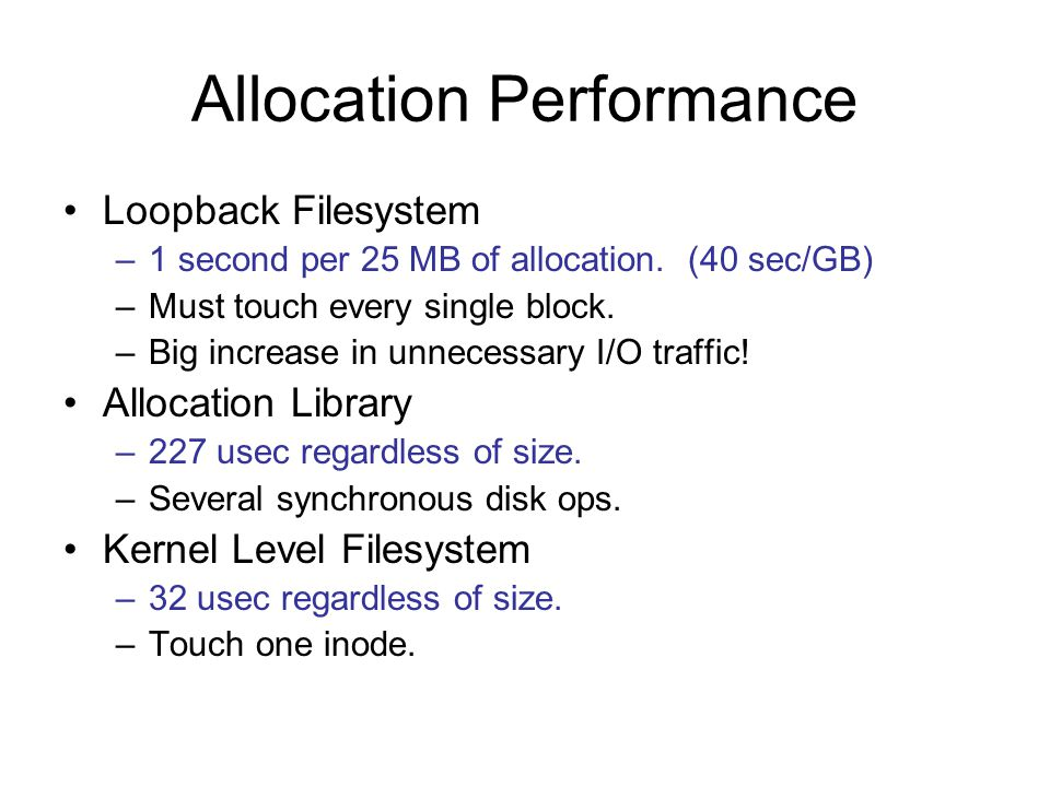 Allocation Performance Loopback Filesystem –1 second per 25 MB of allocation.