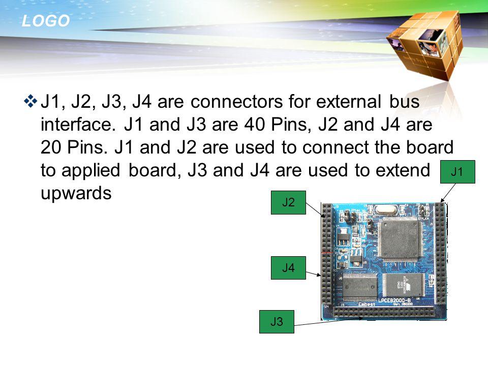 LOGO  J1, J2, J3, J4 are connectors for external bus interface.