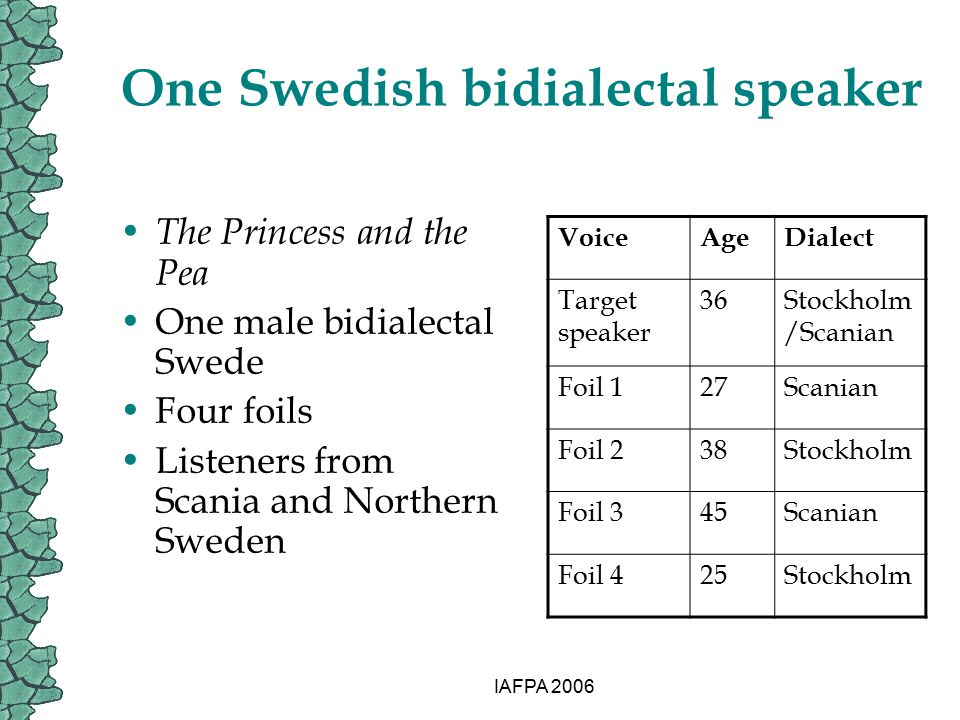 IAFPA 2006 One Swedish bidialectal speaker The Princess and the Pea One male bidialectal Swede Four foils Listeners from Scania and Northern Sweden Vo