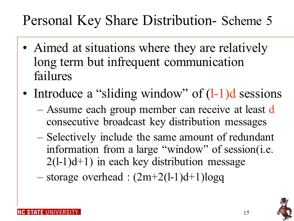 15 Personal Key Share Distribution- Scheme 5 Aimed at situations where they are relatively long term but infrequent communication failures Introduce a
