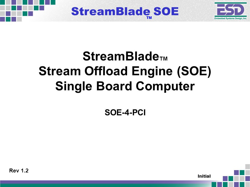 StreamBlade SOE TM Initial StreamBlade TM Stream Offload Engine (SOE) Single Board Computer SOE-4-PCI Rev 1.2