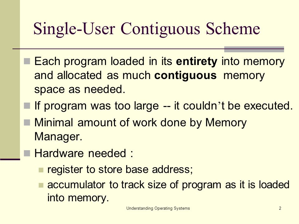 Understanding Operating Systems3 Algorithm to Load a Job in a Single-user System 1.Store first memory location of program into base register 2.Set program counter equal to address of first memory location 3.Load instructions of program 4.Increment program counter by number of bytes in instructions 5.Has the last instruction been reached.