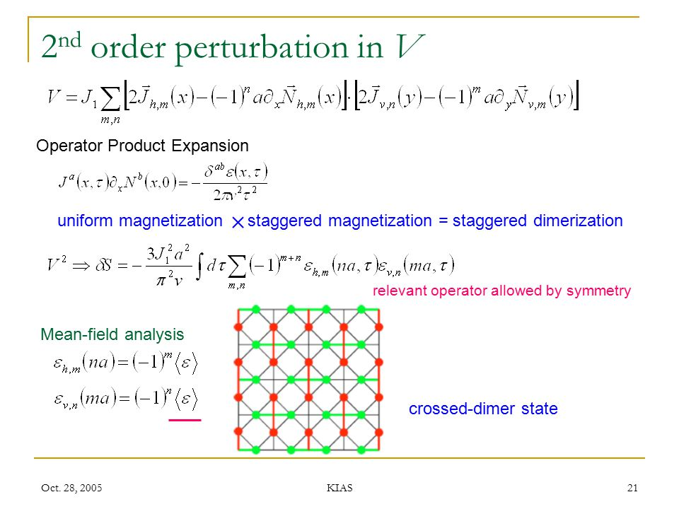 Oct. 28, 2005 KIAS 21 2 nd order perturbation in V Operator Product Expansion uniform magnetization staggered magnetization = staggered dimerization r