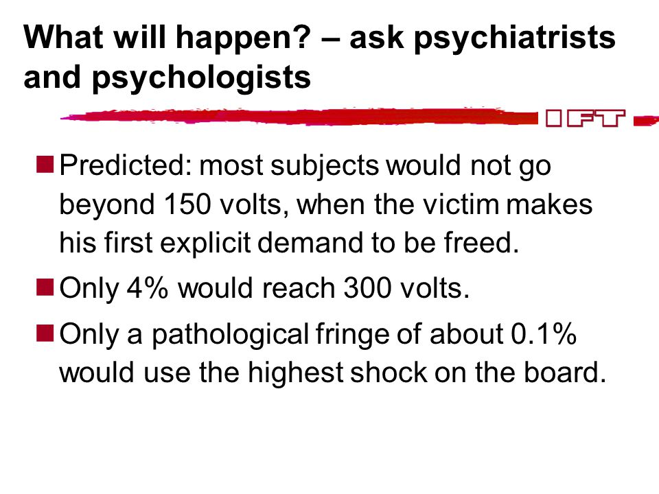 What will happen? – ask psychiatrists and psychologists Predicted: most subjects would not go beyond 150 volts, when the victim makes his first explic