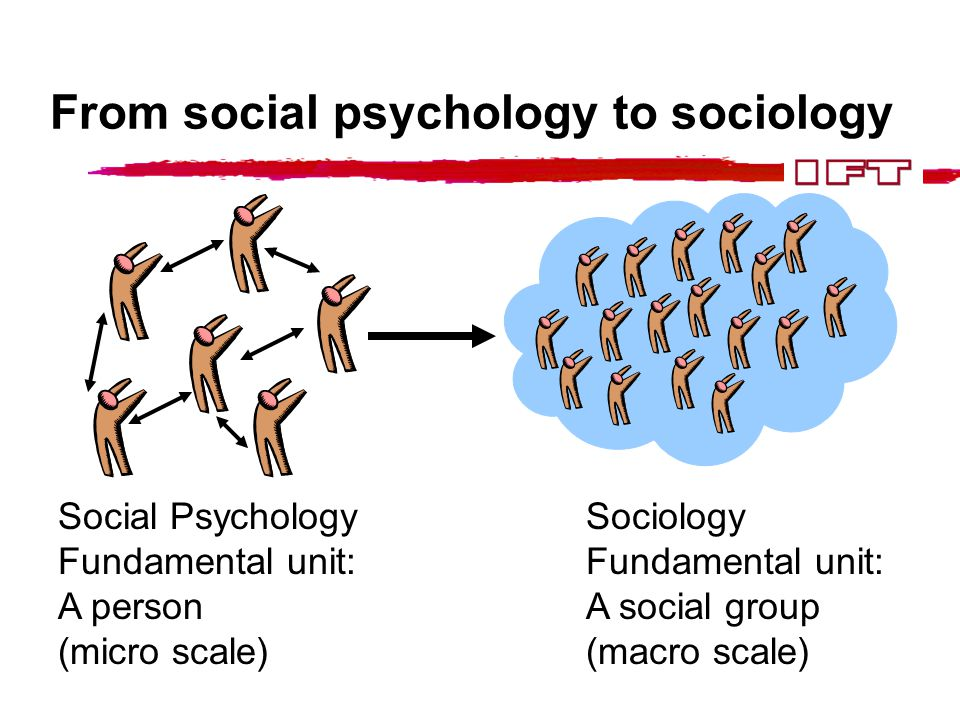 From social psychology to sociology Social Psychology Fundamental unit: A person (micro scale) Sociology Fundamental unit: A social group (macro scale)