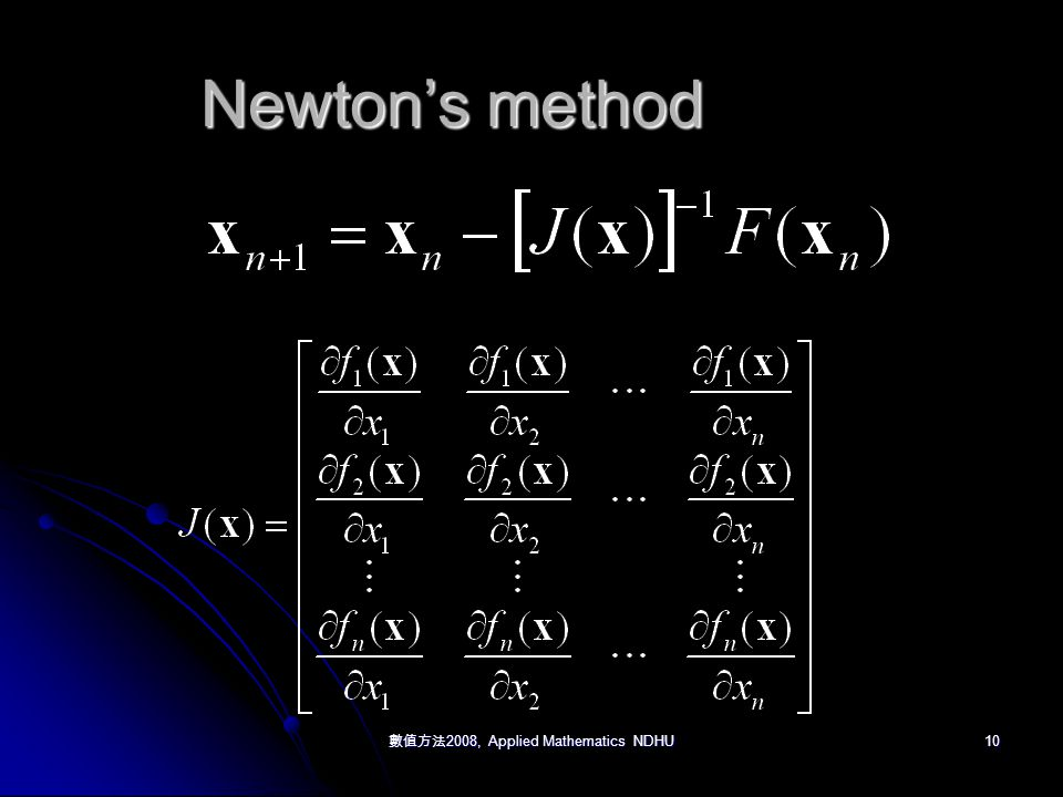 數值方法 2008, Applied Mathematics NDHU 10 Newton's method