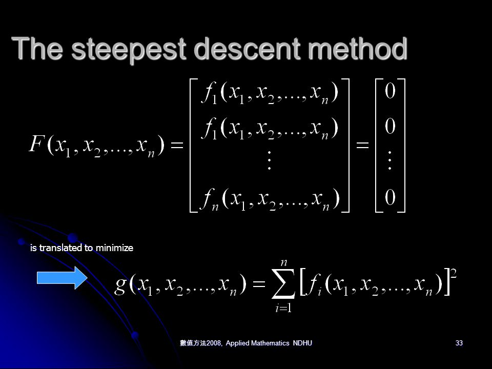 數值方法 2008, Applied Mathematics NDHU 33 The steepest descent method is translated to minimize