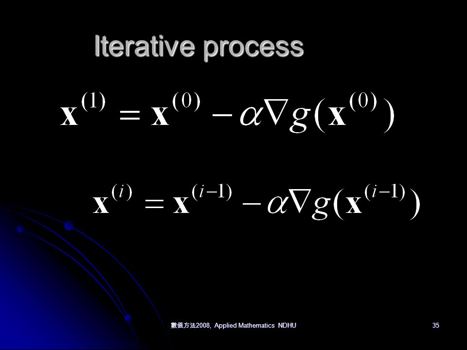 數值方法 2008, Applied Mathematics NDHU 35 Iterative process