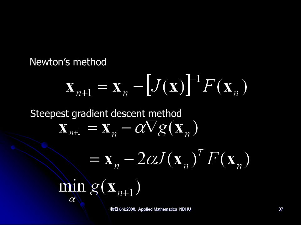 數值方法 2008, Applied Mathematics NDHU 37 Newton's method Steepest gradient descent method
