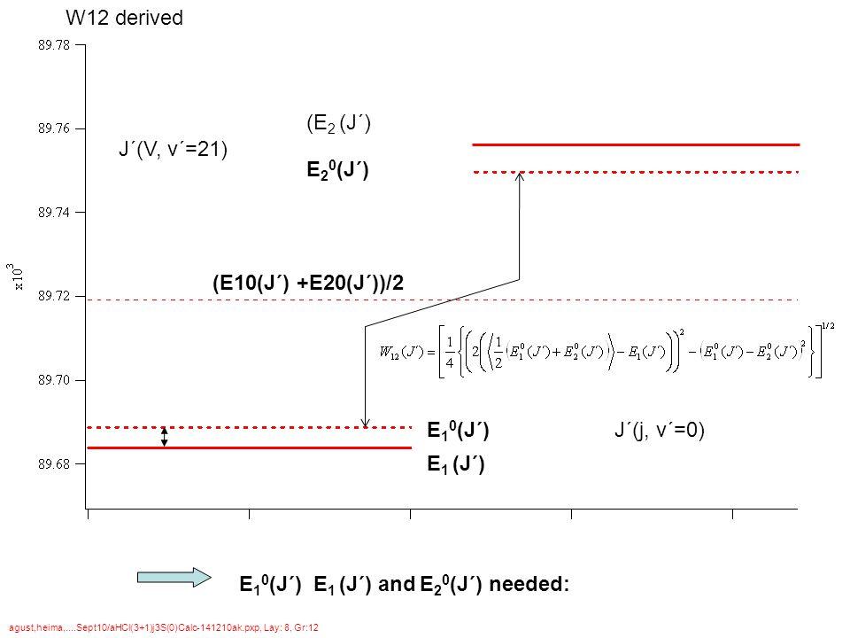 E 1 (J´) E 1 0 (J´) (E10(J´) +E20(J´))/2 E 2 0 (J´) (E 2 (J´) agust,heima,....Sept10/aHCl(3+1)j3S(0)Calc-141210ak.pxp, Lay: 8, Gr:12 J´(V, v´=21) J´(j