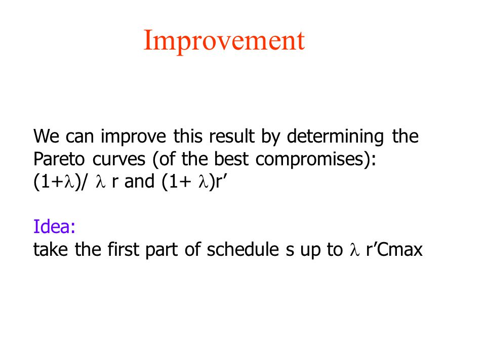 Improvement We can improve this result by determining the Pareto curves (of the best compromises): (1+ )/ r and (1+ )r' Idea: take the first part of s