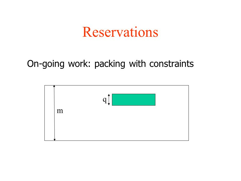Reservations On-going work: packing with constraints q m