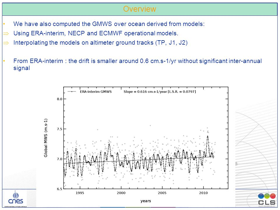 26/11/2012 – Observatoire de Paris - 5 - Overview We have also computed the GMWS over ocean derived from models:  Using ERA-interim, NECP and ECMWF operational models.