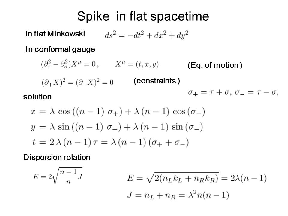 Spike in flat spacetime In conformal gauge in flat Minkowski solution (Eq.