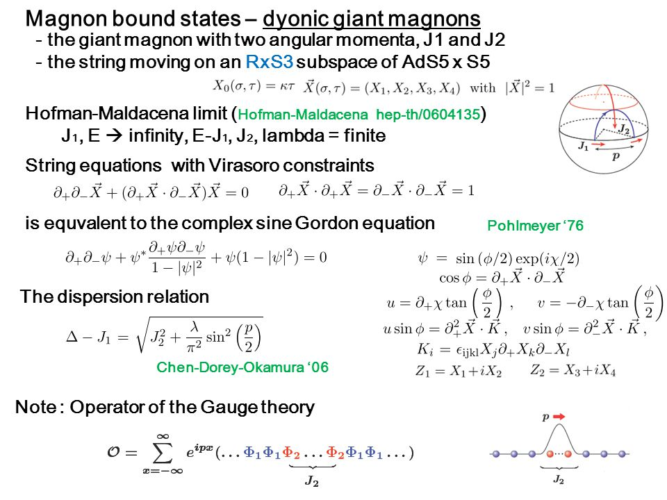 Magnon bound states – dyonic giant magnons The dispersion relation - the giant magnon with two angular momenta, J1 and J2 - the string moving on an RxS3 subspace of AdS5 x S5 Note : Operator of the Gauge theory Hofman-Maldacena limit ( Hofman-Maldacena hep-th/0604135 ) J 1, E  infinity, E-J 1, J 2, lambda = finite String equations with Virasoro constraints Pohlmeyer '76 Chen-Dorey-Okamura '06 is equvalent to the complex sine Gordon equation