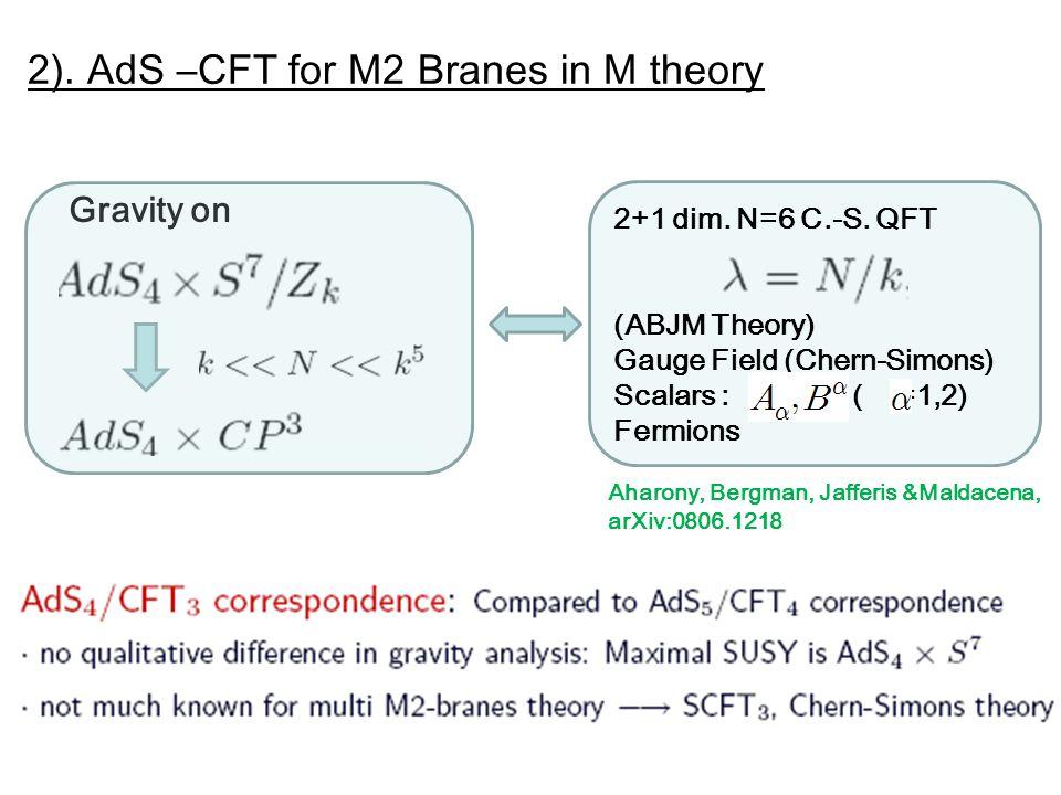2). AdS –CFT for M2 Branes in M theory Aharony, Bergman, Jafferis &Maldacena, arXiv:0806.1218 Gravity on 2+1 dim. N=6 C.-S. QFT (ABJM Theory) Gauge Fi