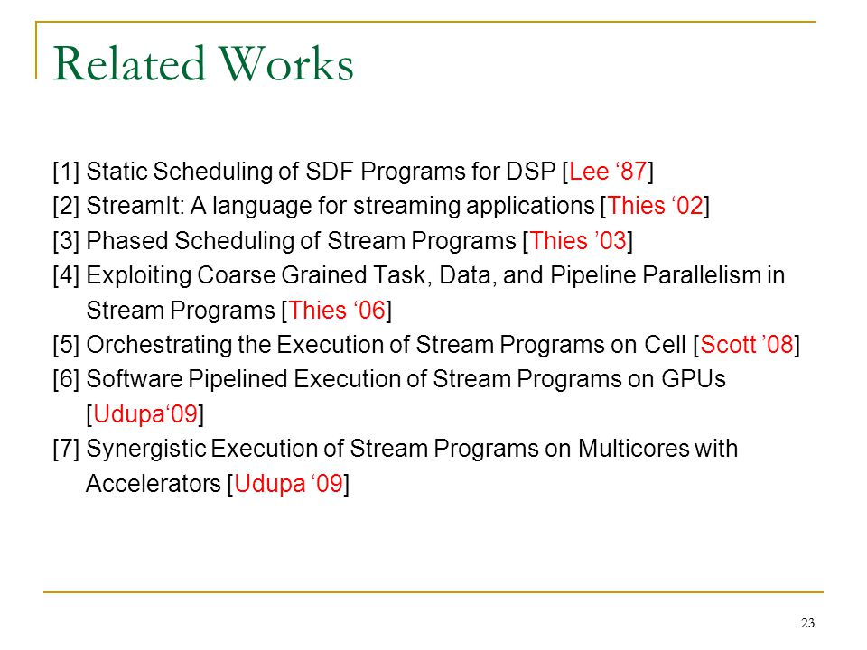 23 Related Works [1] Static Scheduling of SDF Programs for DSP [Lee '87] [2] StreamIt: A language for streaming applications [Thies '02] [3] Phased Scheduling of Stream Programs [Thies '03] [4] Exploiting Coarse Grained Task, Data, and Pipeline Parallelism in Stream Programs [Thies '06] [5] Orchestrating the Execution of Stream Programs on Cell [Scott '08] [6] Software Pipelined Execution of Stream Programs on GPUs [Udupa'09] [7] Synergistic Execution of Stream Programs on Multicores with Accelerators [Udupa '09] 23