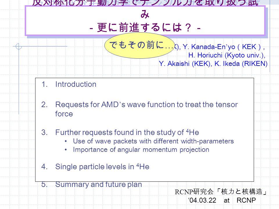 反対称化分子動力学でテンソル力を取り扱う試 み -更に前進するには?- A. Dote (KEK), Y. Kanada-En ' yo ( KEK ), H. Horiuchi (Kyoto univ.), Y. Akaishi (KEK), K. Ikeda (RIKEN) 1.Introduc