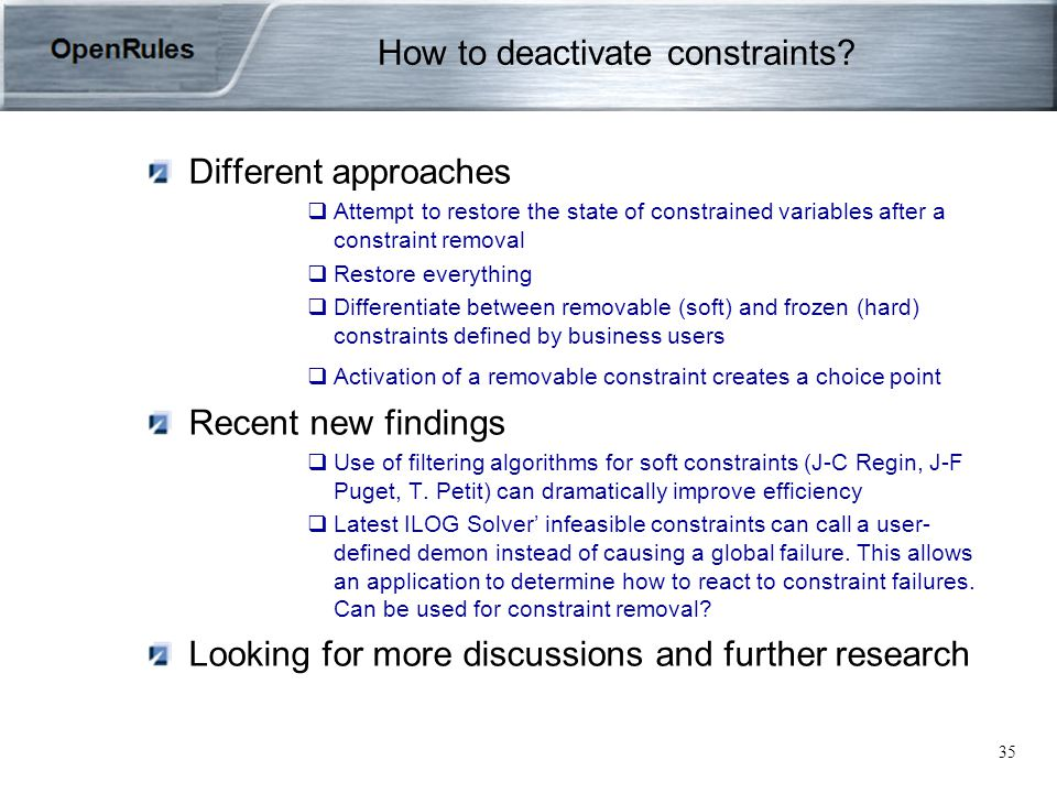 35 How to deactivate constraints.