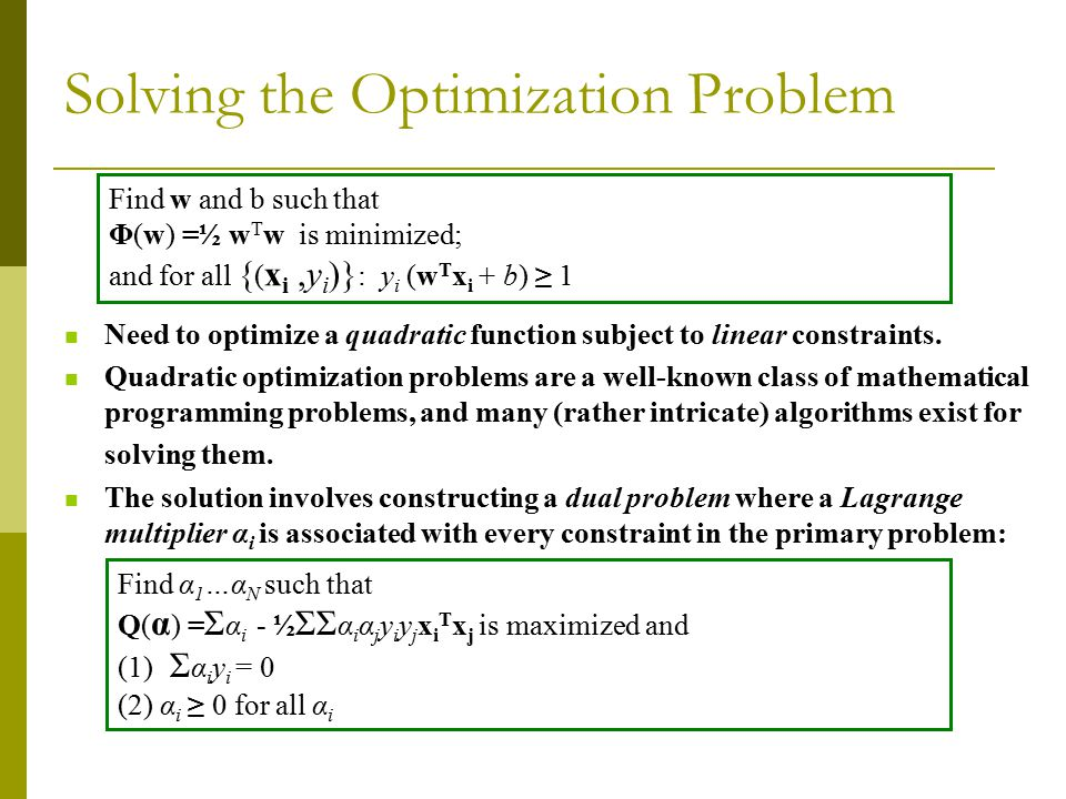 Solving the Optimization Problem Need to optimize a quadratic function subject to linear constraints.