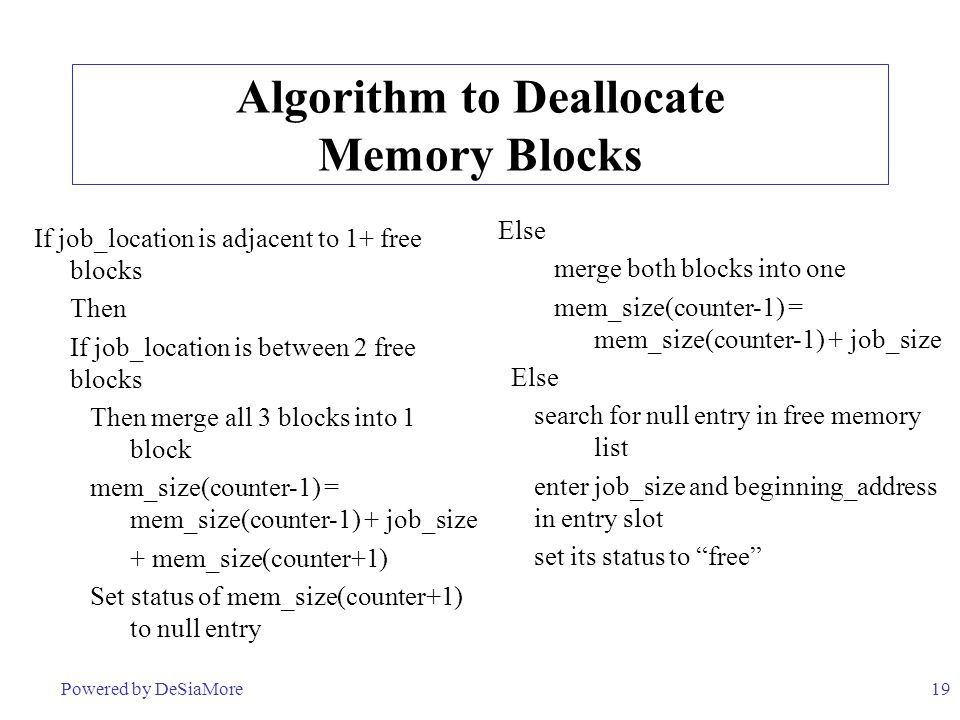 19 Algorithm to Deallocate Memory Blocks If job_location is adjacent to 1+ free blocks Then If job_location is between 2 free blocks Then merge all 3 blocks into 1 block mem_size(counter-1) = mem_size(counter-1) + job_size + mem_size(counter+1) Set status of mem_size(counter+1) to null entry Else merge both blocks into one mem_size(counter-1) = mem_size(counter-1) + job_size Else search for null entry in free memory list enter job_size and beginning_address in entry slot set its status to free Powered by DeSiaMore