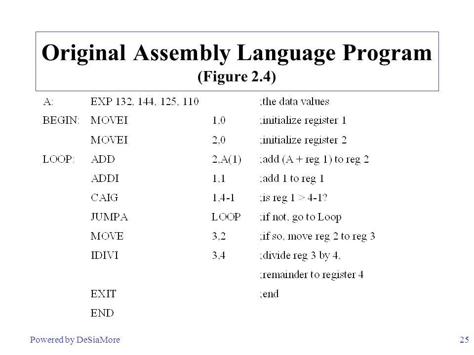 25 Original Assembly Language Program (Figure 2.4) Powered by DeSiaMore