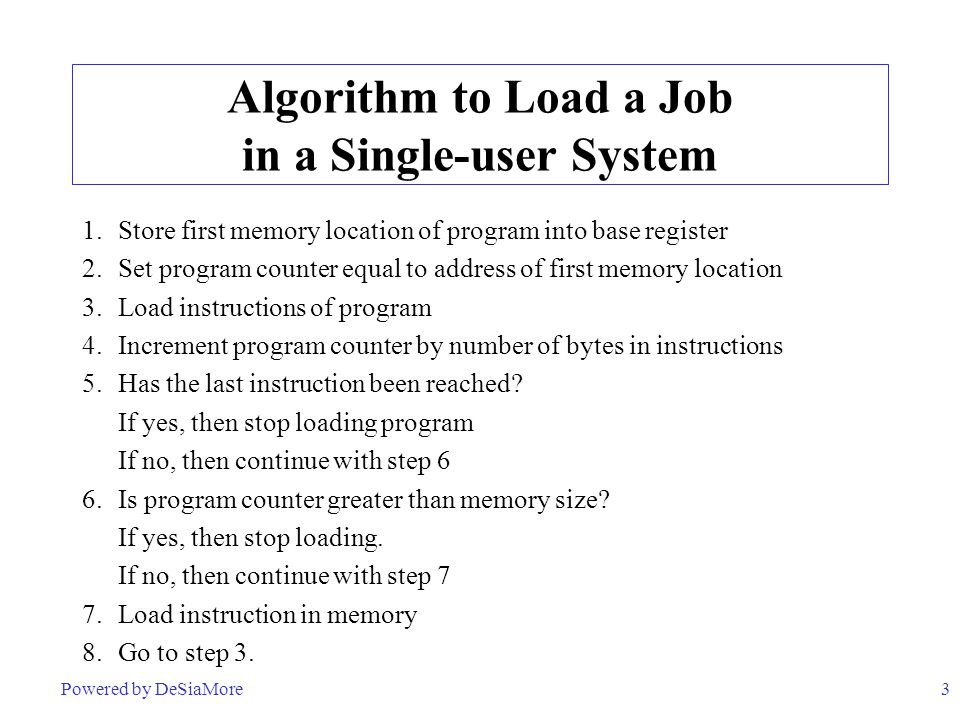 3 Algorithm to Load a Job in a Single-user System 1.Store first memory location of program into base register 2.Set program counter equal to address of first memory location 3.Load instructions of program 4.Increment program counter by number of bytes in instructions 5.Has the last instruction been reached.