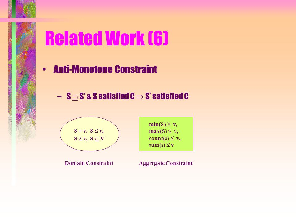 Related Work (6) Anti-Monotone Constraint –S  S' & S satisfied C  S' satisfied C Domain ConstraintAggregate Constraint S = v, S  v, S  v,S  V min