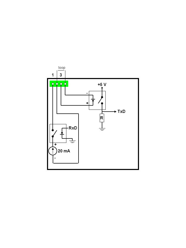 1 3 RxD + - 20 mA + - +5 V TxD R loop