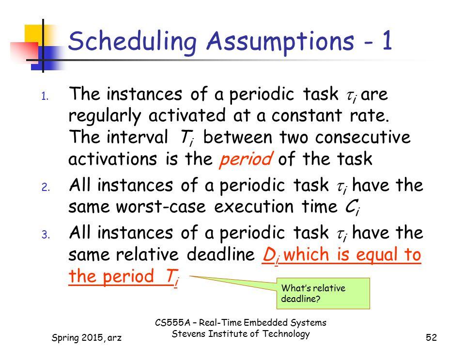 52 Scheduling Assumptions - 1 1.