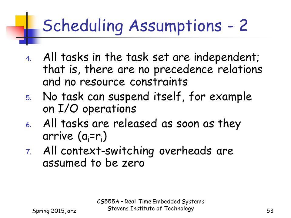 53 Scheduling Assumptions - 2 4.