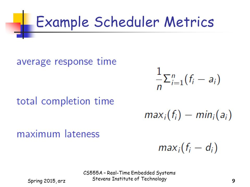 9Spring 2015, arz99 Example Scheduler Metrics CS555A – Real-Time Embedded Systems Stevens Institute of Technology
