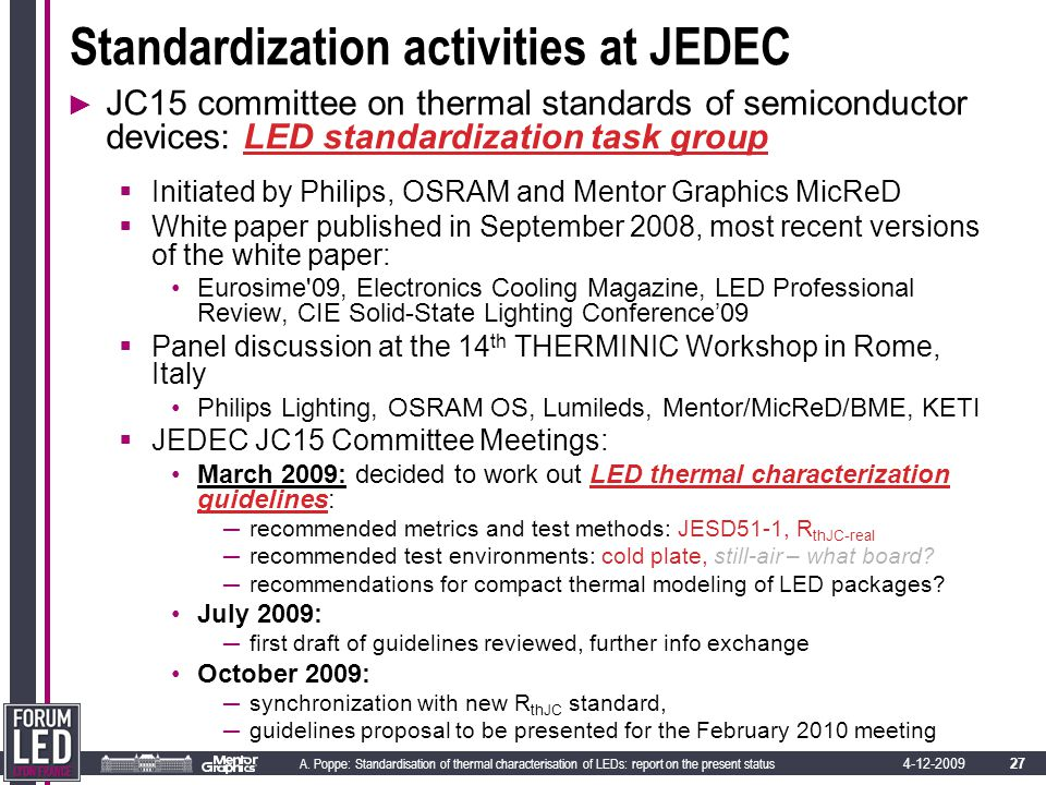 27 A. Poppe: Standardisation of thermal characterisation of LEDs: report on the present status 4-12-2009 Standardization activities at JEDEC ► JC15 co