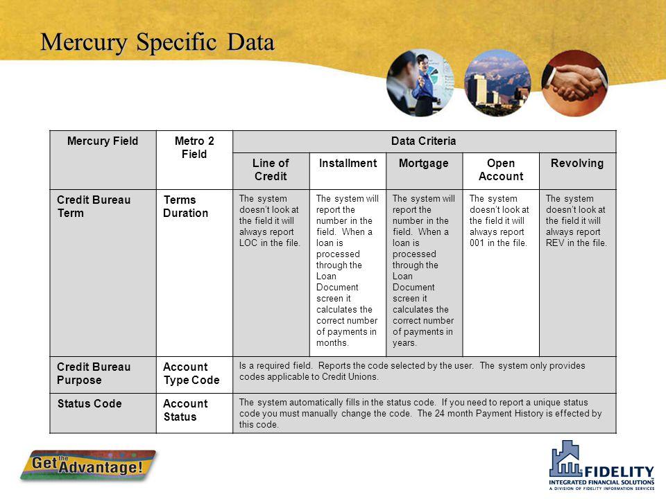 Mercury CB Portfolio Specific Data Metro 2 Field Name/Description Line of CreditInstallmentMortgageOpen AccountRevolving Portfolio TypeCIMOR Credit Li