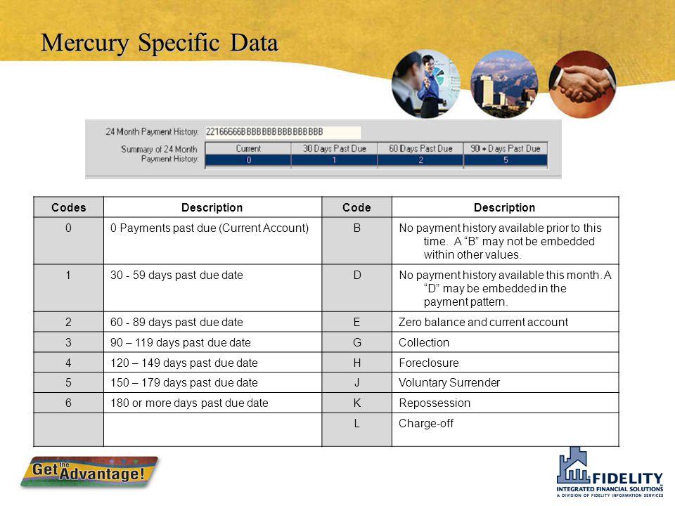 Mercury Specific Data Mercury FieldMetro 2 FieldData Criteria Comment CodeSpecial Comment Code Manually maintained Condition CodeCompliance Condition