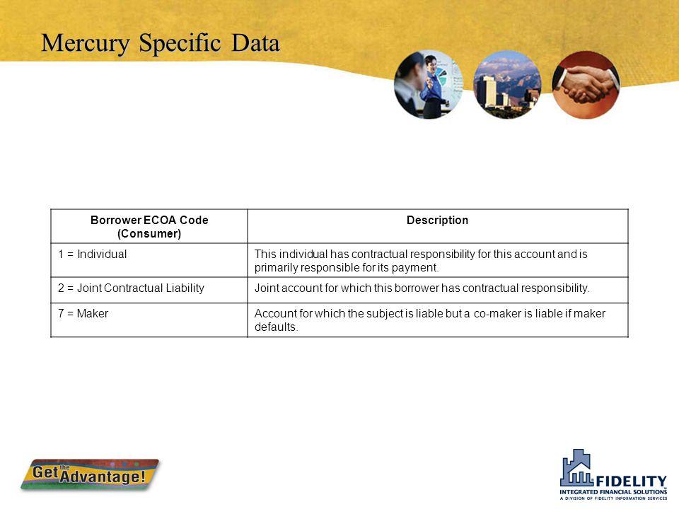 Mercury Specific Data  ECOA Information Co-Maker ECOA Code (Associated Consumer) DescriptionBorrower ECOA Code (Consumer) No Co-maker1 = Individual 2