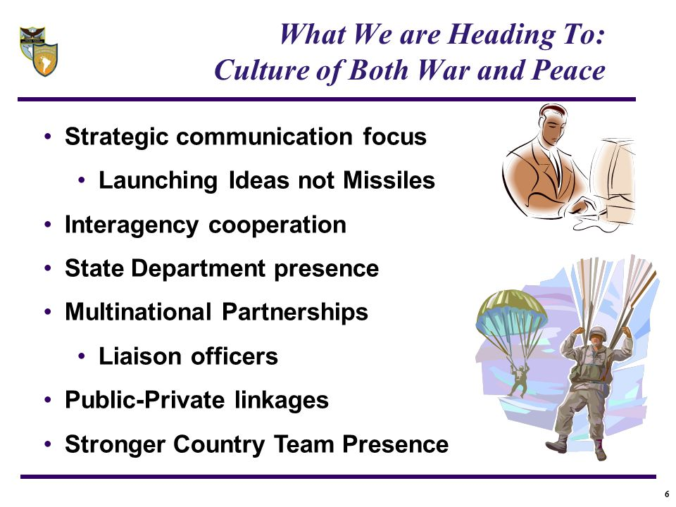 6 What We are Heading To: Culture of Both War and Peace Strategic communication focus Launching Ideas not Missiles Interagency cooperation State Depar