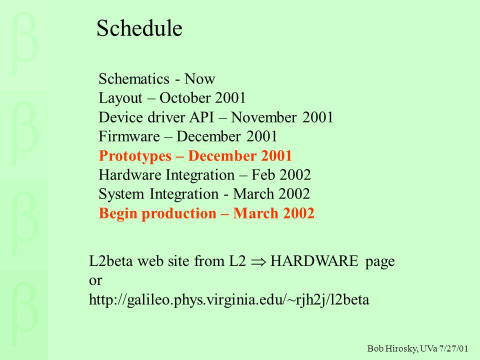 Bob Hirosky, UVa 7/27/01 Schematics - Now Layout – October 2001 Device driver API – November 2001 Firmware – December 2001 Prototypes – December 2001 Hardware Integration – Feb 2002 System Integration - March 2002 Begin production – March 2002 Schedule L2beta web site from L2  HARDWARE page or http://galileo.phys.virginia.edu/~rjh2j/l2beta