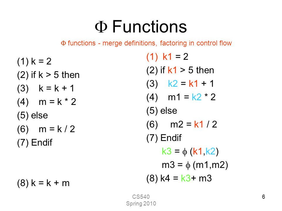 CS540 Spring 2010 6  Functions (1)k = 2 (2) if k > 5 then (3) k = k + 1 (4) m = k * 2 (5) else (6) m = k / 2 (7) Endif (8) k = k + m (1)k1 = 2 (2) if k1 > 5 then (3) k2 = k1 + 1 (4) m1 = k2 * 2 (5) else (6) m2 = k1 / 2 (7) Endif k3 =  (k1,k2) m3 =  (m1,m2) (8) k4 = k3+ m3  functions - merge definitions, factoring in control flow