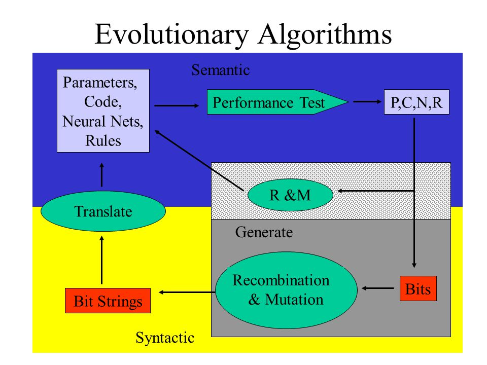 Evolutionary Algorithms Bit Strings Parameters, Code, Neural Nets, Rules Translate Performance Test Recombination & Mutation P,C,N,R Bits Generate Sem