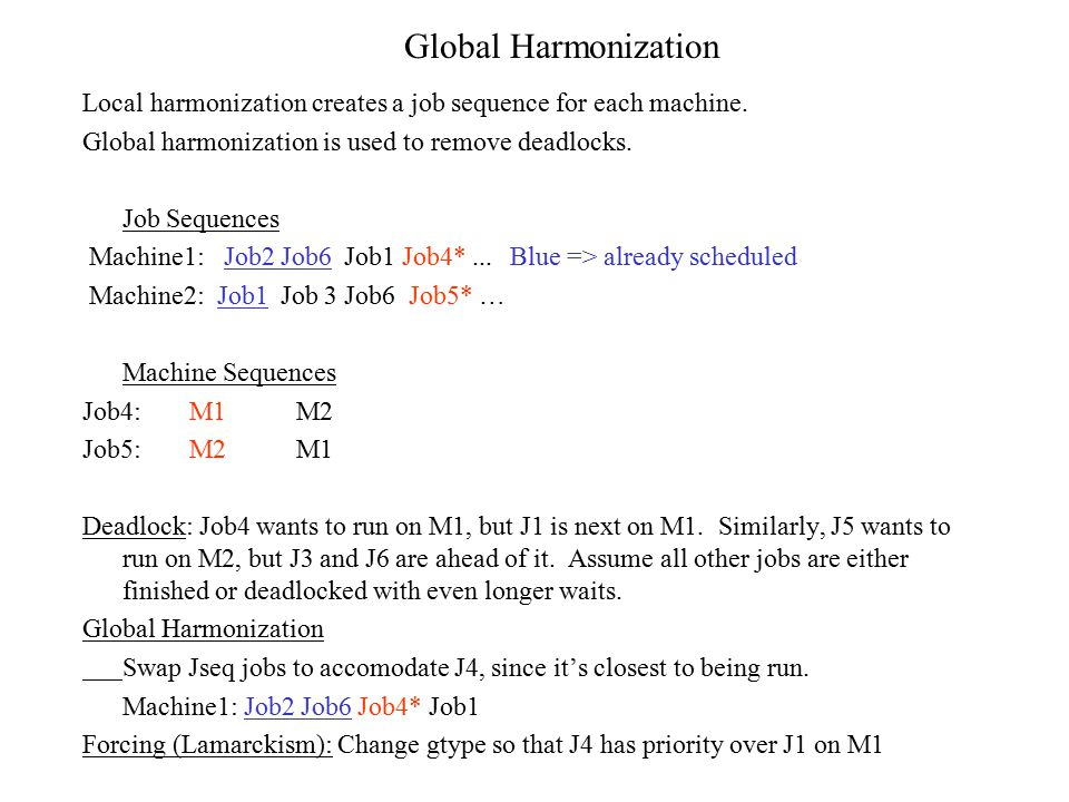Local harmonization creates a job sequence for each machine. Global harmonization is used to remove deadlocks. Job Sequences Machine1: Job2 Job6 Job1